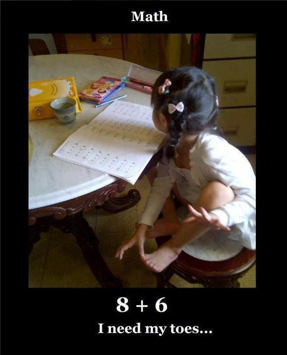 Funny Kid Counts math with fingers feet