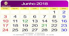 CALENDÁRIO DA VELOCIDADE JUNHO 2018