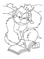 Ape Making Homework Funny Animal Coloring Pages Realistic