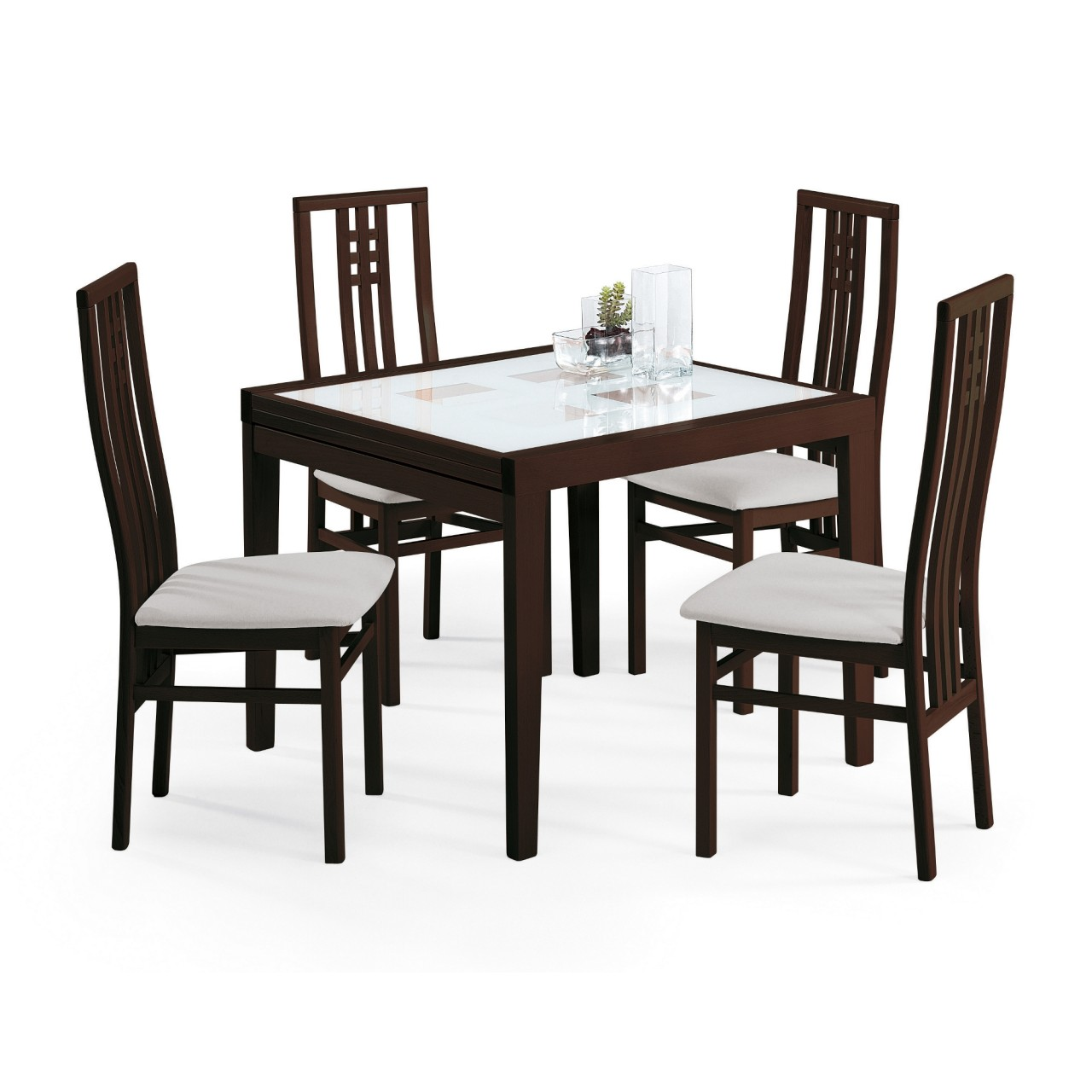 This Modern Style Dining Room Set Consists Of The Poker 120 Table And 4  (four) Scala Dining Chairs. The Table Frame Comes In A Wenge Wood Finish  And ...