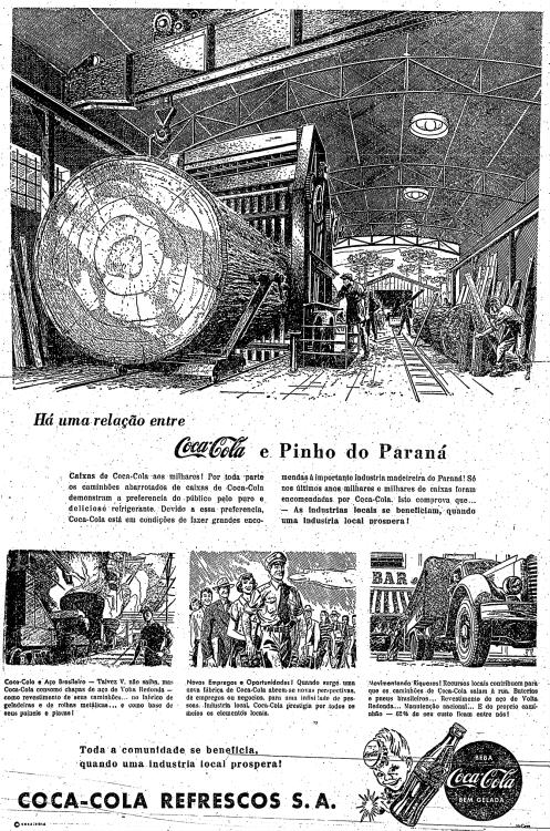 Propaganda da Coca-Cola nos anos 50 que apresentava a forma que explorava os recursos da natureza em prol de sua produção.