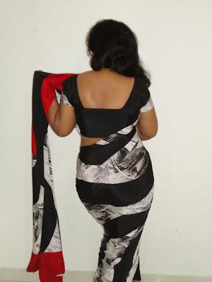 Black Saree Back Hot air Cut Jocket ammu
