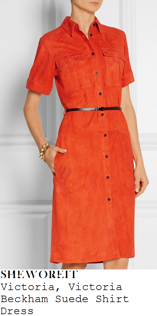 rochelle-humes-bright-orange-suede-shirt-dress-x-factor-auditions