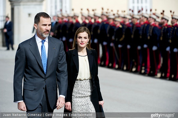 Queen Letizia of Spain and King Felipe VI of Spain receives the President of Colombia Juan Manuel Santos and Maria Clemencia Rodriguez de Santos at El Pardo Royal Palace