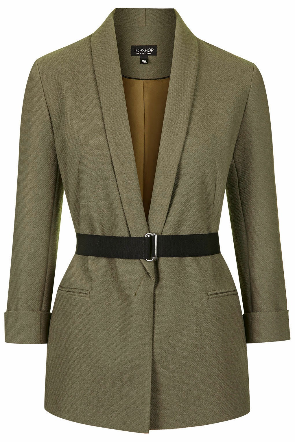 khaki jacket black belt