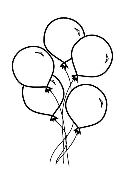 balloons - free colouring pages