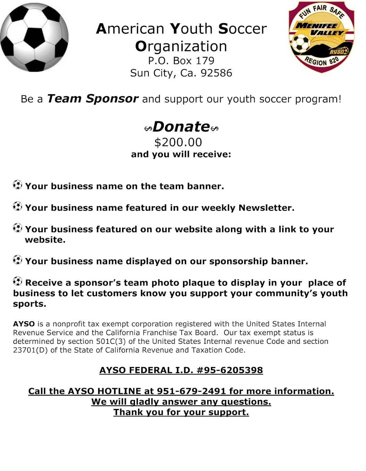 Local AYSO Seeking Sponsors – Letter of Intent for Sponsorship