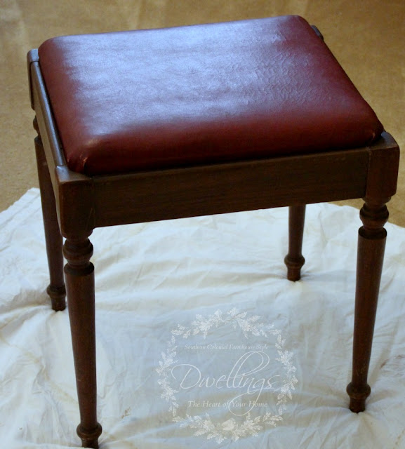 Red leather top vanity stool is getting a makeover!