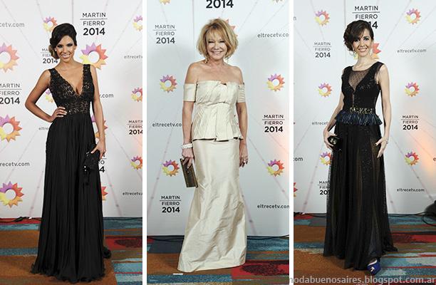 Moda Argentina Premios Martin FIerro 2014. Vestidos de fiesta otoño invierno 2014.