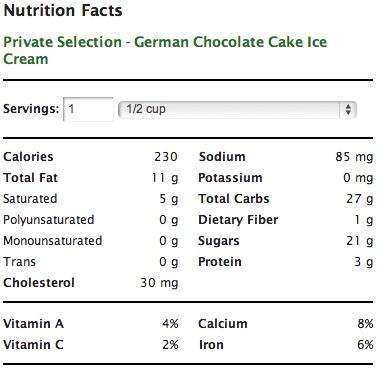 Kroger German Chocolate Cake Calories