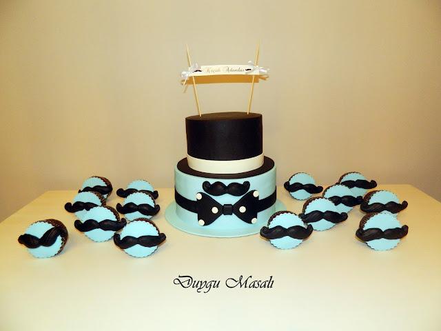 bıyık temalı butik pasta ve cupcake