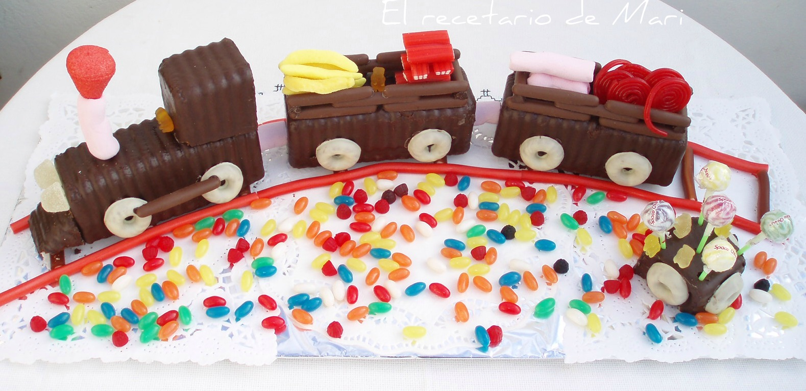 Tren de chocolate y chuches cocina - Bizcocho cumpleanos para ninos ...