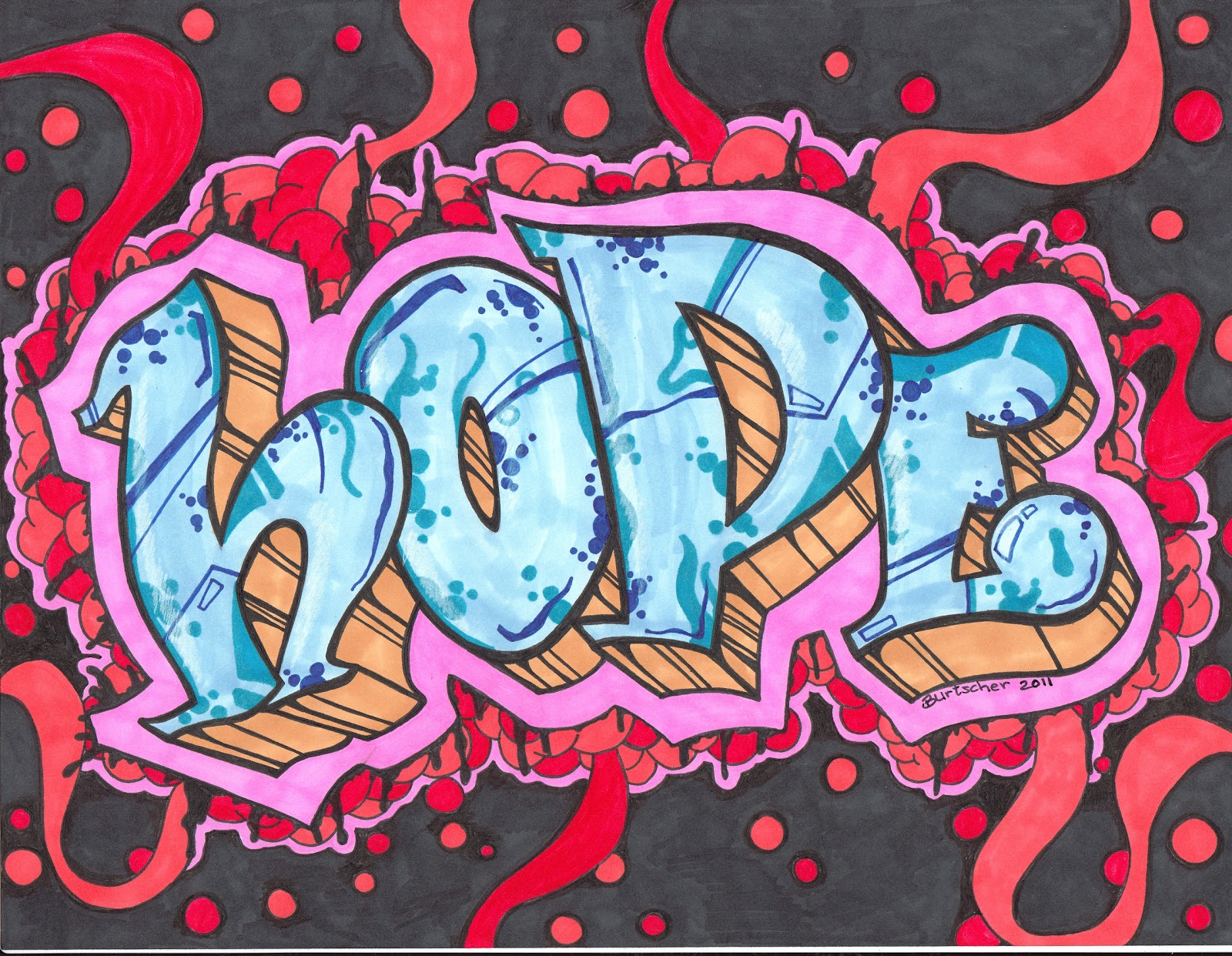 graffiti word hope how to draw