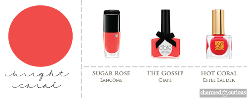 Lancôme Sugar Rose, Ciaté The Gossip, Estée Lauder Hot Coral