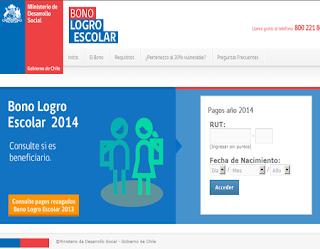 Consulta con tu RUT si eres eres beneficiario al Bono Logro Escolar 2014, para alumnos entre 5° básico y 4° medio de Chile