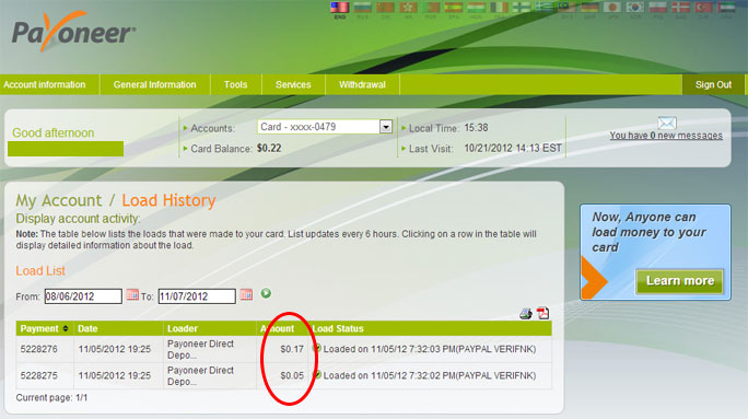Payoneer+account+Transaction+History