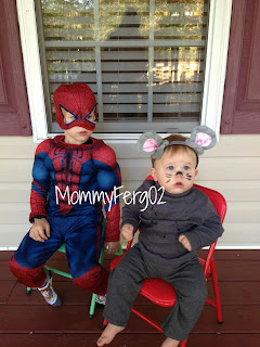 Spider-Man and a little mouse all ready to trick or treat!