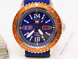 SEIKO 5 SPORTS SUNBURST BLUE DIAL ORANGE BEZEL - SEIKO SRPC33K1 - AUTOMATIC 4R36A