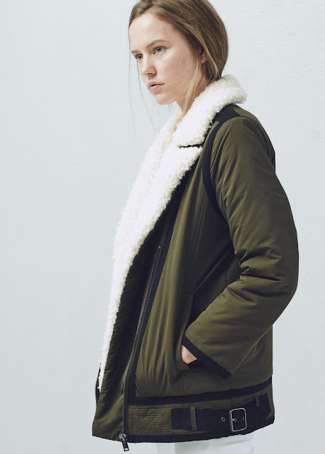 dark khaki shearling coat, khaki shearling coat,