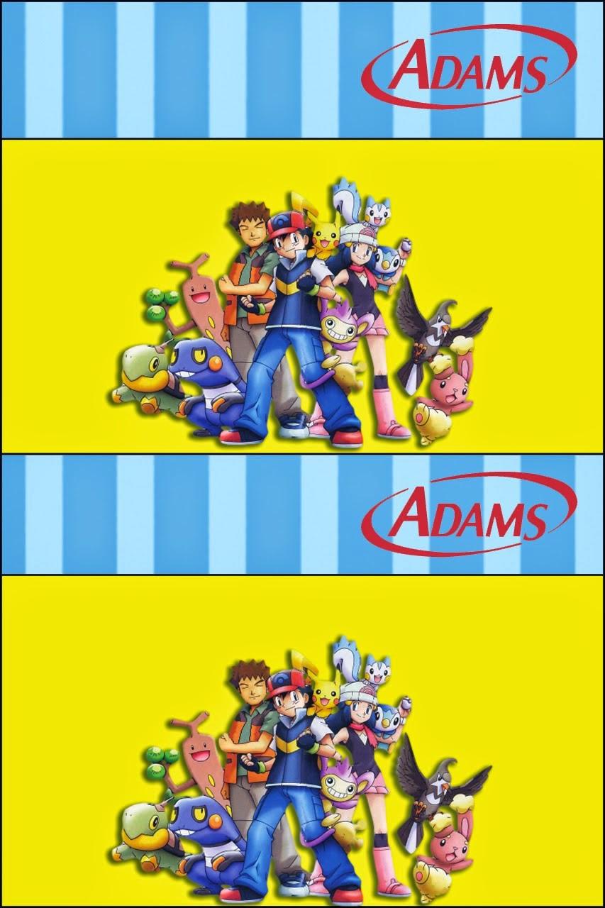 Etiquetas para chicles Adams de Pokemon  para imprimir gratis.