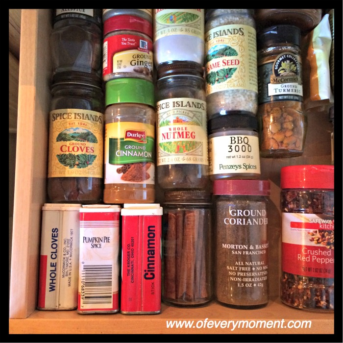 spices, spice drawer, cinnamon and baking spices