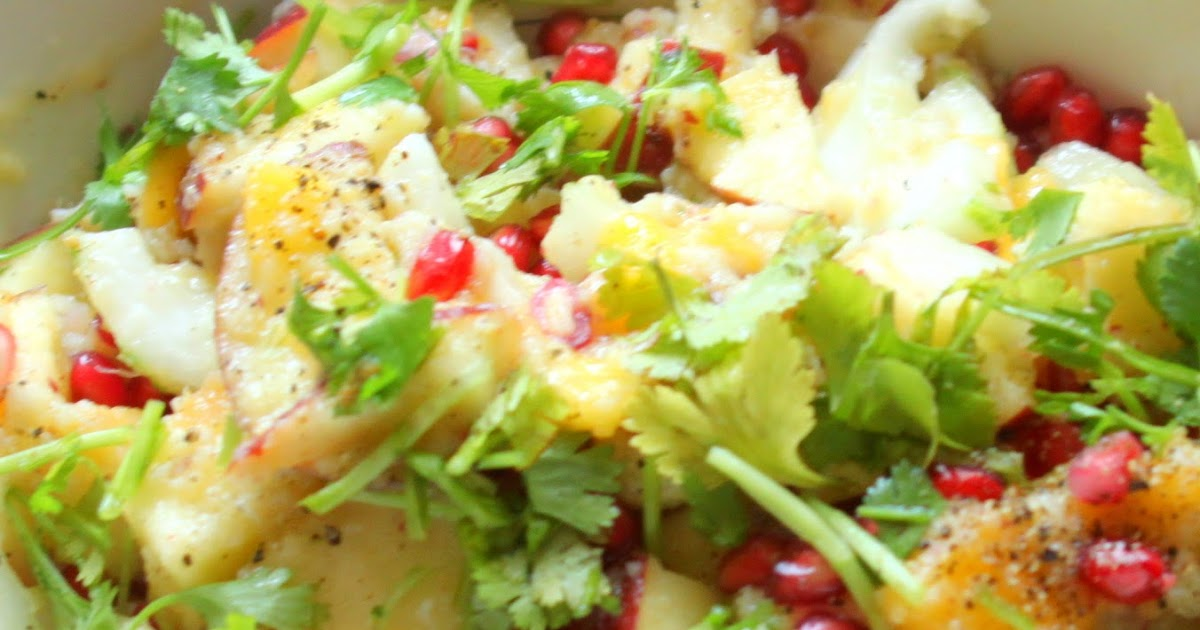 Step 1: Stand facing the stove.: CRAB, APPLE AND POMEGRANATE SALAD