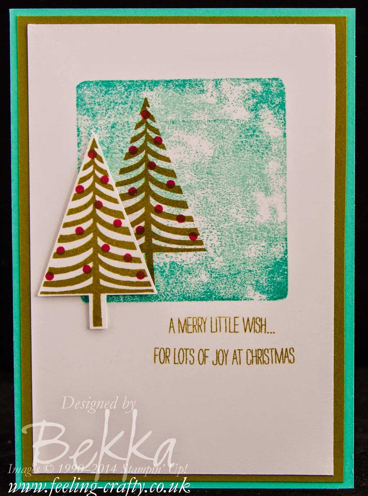 Festival of Trees Christmas Card by Stampin' Up! UK Independent Demonstrator Bekka Prideuaux - check her blog for lots of cute ideas