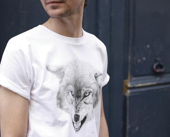 Tshirt Homme Virginie Garnier Wolf