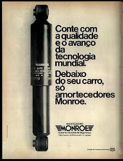 propaganda amortecedores Monroe - 1978.  reclame de carros anos 70. brazilian advertising cars in the 70. os anos 70. história da década de 70; Brazil in the 70s; propaganda carros anos 70; Oswaldo Hernandez;