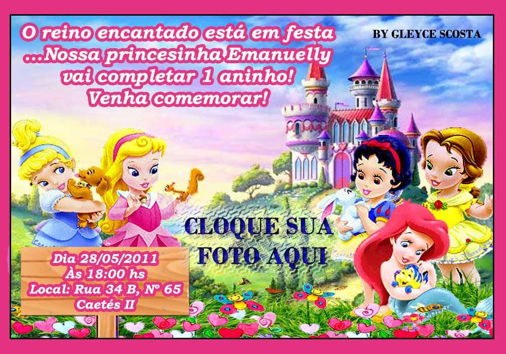Convite Princesas Baby PSD
