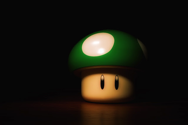 mario 1up mushroom green black