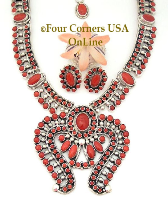 Coral Naja Necklace Post Earring Fine Navajo Jewelry Set Four Corners USA OnLine Native American Jewelry