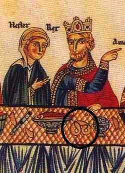 Escena de un banquete en el que participan la reina Ester y su esposo el rey persa Asuero/Jerjes.En el detalle marcado podemos apreciar la figura de un bretzel