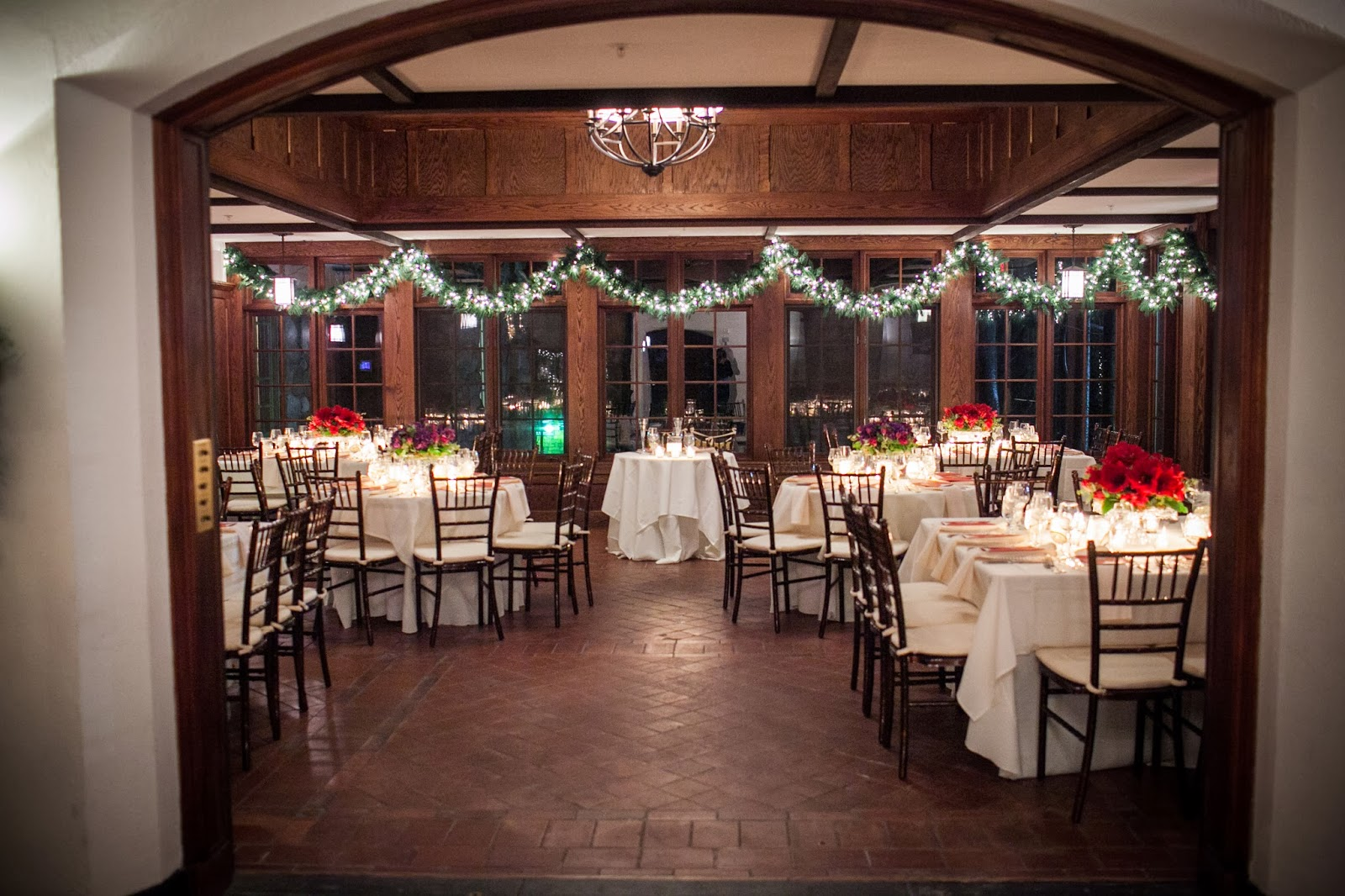 willowdale estate : les fleurs : round and square tables : red and purple arrangements : cake stands