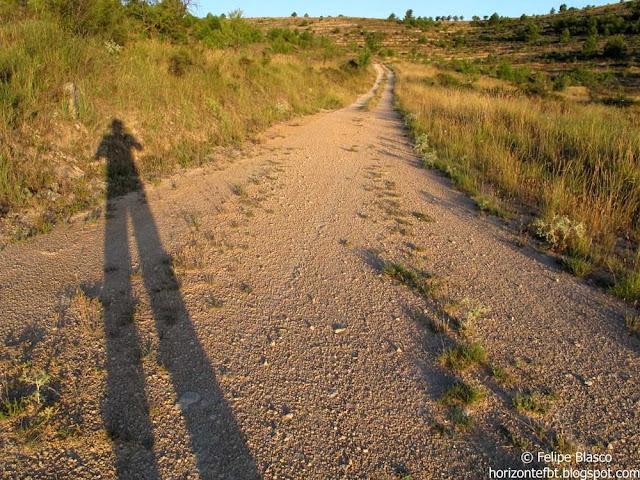 Silueta sobre un camino al amanecer