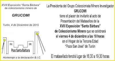 Invitación a la inauguración de la exposición de coleccionismo minero de GRUCOMI