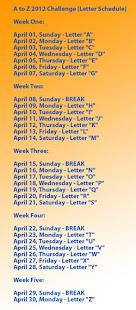 A-Z Blogging Challenge Calendar