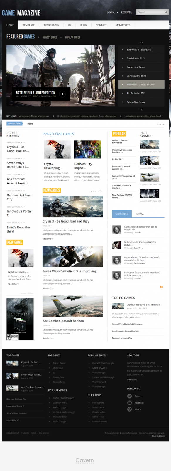GK Game Magazine - Gavick Pro Joomla Templates