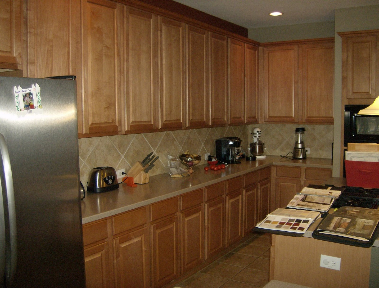 Honey Oak Cabinets with Dark Floors