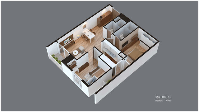 Mặt bằng căn hộ Imperia Garden CH14 70.7 m2