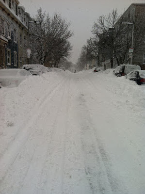 snowy road in Boston