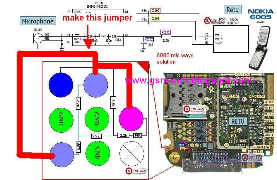 Nokia 6085 Mic Jumpering  GSMHosters