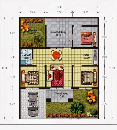 gambar denah rumah minimalis type 70 1 lantai, contoh denah rumah minimalis type 70 1 lantai