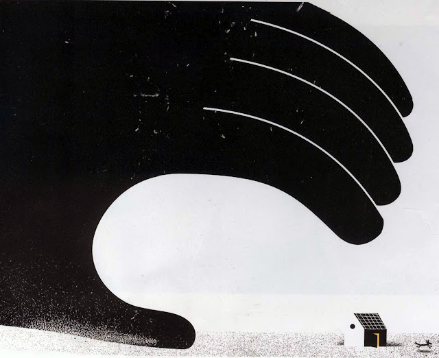 Philip Giordano illustration of big hand looming over small house