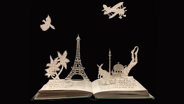 papercut , book papercut art , Urlaub und lesen, holidays, Scherenschnitt, Eiffelturm, eiffel tower,
