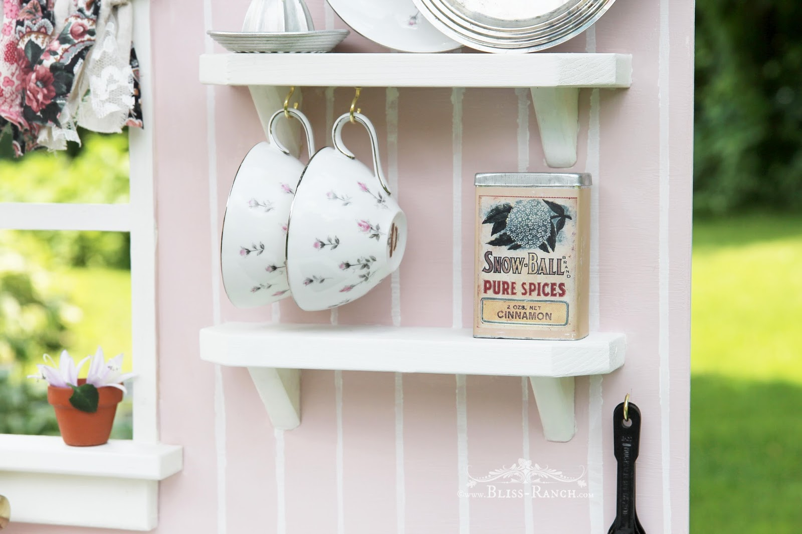 Recycled Nightstand Play Kitchen Bliss-Ranch.com #playkitchen #maisonblanchepaint  #paintedfurniture #ad