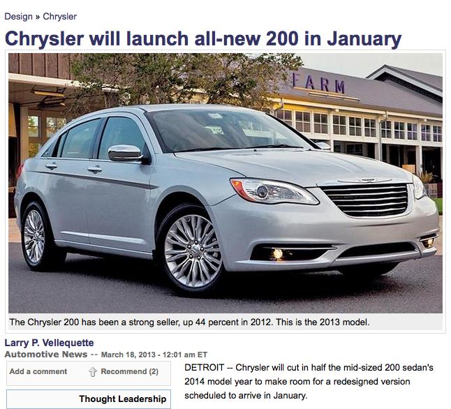 Chrysler 200: A Gennaio 2014 La Nuova Generazione Su Base
