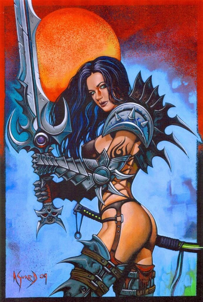 Dessin de Noël Guard représentant une guerrière barbare épée à lamain
