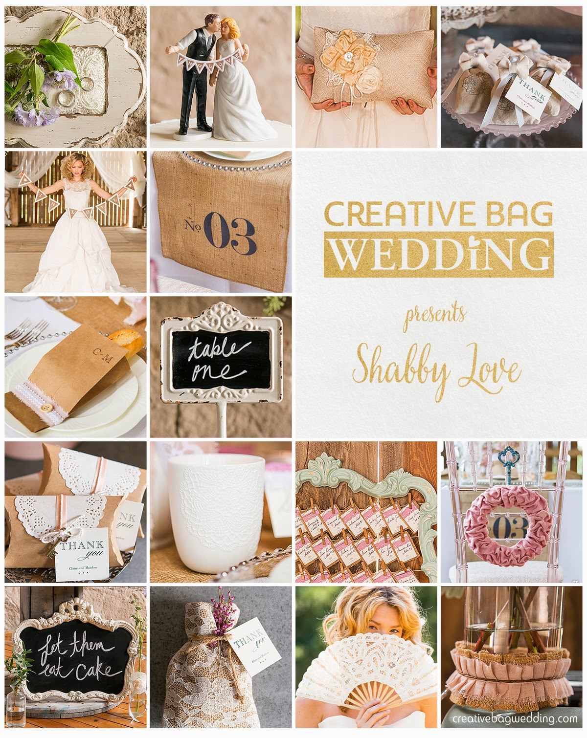 shabby love theme mood board | Creative Bag Wedding