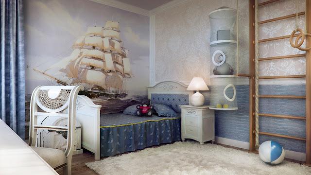 Dormitorio tematico para nino marinero diseno de interiores for Decoracion barcos interiores